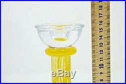KOSTA BODA Pillar Art Glass Candle Stick Holder Signed K. Engman
