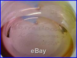 KOSTA BODA SIGNED KJELL ENGMAN TALL 11 FIDJI ART BLUE GLASS BOTTLE VASE WithBOX