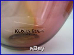 KOSTA BODA SIGNED KJELL ENGMAN TALL 14 FIDJI ART RED GLASS BOTTLE VASE WithBOX