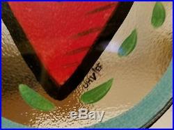 KOSTA BODA SWEDEN Art Glass Hand Painted Heart Plates Signed by Ulrica Hydman