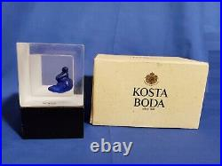 KOSTA BODA Snapshots Sculpture Kjell Engman Sitting Nude Blue Woman