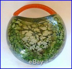 KOSTA BODA Sweden Corfu Bowl with Handle Green & Red by Artist Kjell Engman