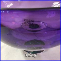 KOSTA BODA ZOOM OVAL GLASS CONTROLLED BUBBLES Purple Green