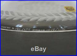 KOSTA Lisa Bauer Crystal ETCHED FOOTED BOWL in Memory of Evert Taube LE 1978