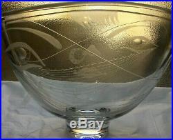 KOSTA Swedish Glass ERNEST GORDON Faces Carved Etched Sculptural Bowl / Vase