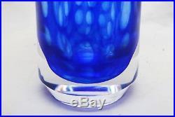 KOSTA VICKE LINDSTRAND. LARGE VASE COLORA IN BLUE. SIGNED. VERY RARE 17 cm
