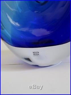 Kjell Engman Kosta Boda Sweden Bali Blue Heart Glass Vase 16 Artist's Choice