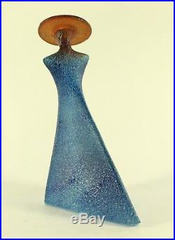 Kjell Engman for Kosta Boda Catwalk Madame Lady in Blue Dress With a Red Hat