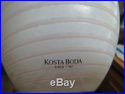Kosta Boda 10 Inch Vase Art Glass Sculpture Rib Swirl Sweden