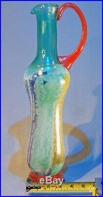 Kosta Boda 16 Tall Art Glass Pitcher Can-Can Series, Signed Kjell Engman -1980