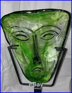 Kosta Boda 1960's Erik Hoglund Green Art Glass Face Mask
