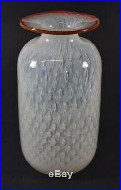 Kosta Boda 8 White with Red Rim Controlled Bubble Vase by Bertil Vallien