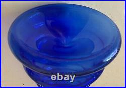 Kosta Boda A Wahlstrom Art Deco Style Cobalt Blue Glass Decanter Signed Numbered
