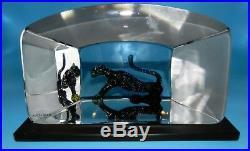 Kosta Boda African Panther Large Sculpture Paperweight Bertil Vallien Signed
