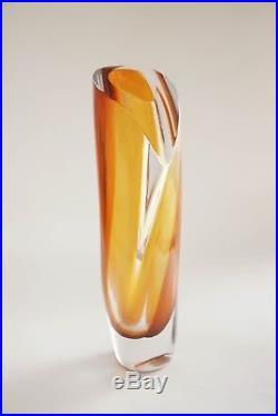 Kosta Boda Amber Art Vase Saraband Goran Warff Swedish Art Glass 40202