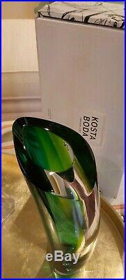 Kosta Boda Aria Vase, 11.25 Goran Warff Brand New, Turquoise Green Clear WithBox