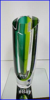 Kosta Boda Aria Vase, 7040535, Signed, 11.25 Goran Warff New, Turquoise Green N
