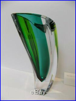 Kosta Boda Aria Vase, 7040535, Signed, 11-3/8 Goran Warff New, Turquoise Green