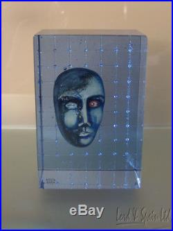 Kosta Boda Art Glass Bertil Vallien Brains Head in Blue Box Sculpture-Ltd Ed 100