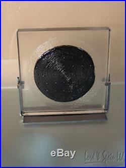 Kosta Boda Art Glass Black Elements MOON Sculpture With Stand-Bertil Vallien