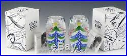 Kosta Boda Art Glass CHRISTMAS TREE PAIR CANDLE HOLDERS By Ulrica Hydman Vallien