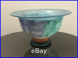 Kosta Boda Art Glass Can Can Bowl Signed Kjell Engman Mid Century 8 3/4