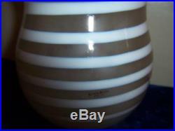 Kosta Boda Art Glass Gunnel Sahlin Signed Beige White Swirl Spiral Vase # 49838