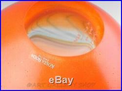 Kosta Boda Art Glass Hand Blown LARGE BOWL ORANGE Numbered & Signed Kjell Engman
