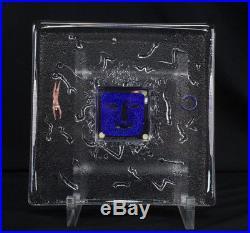 Kosta Boda Art Glass Sculpture withStand 79365 Bertil Vallien Signed, Unique Heavy