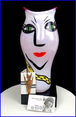 Kosta Boda Art Glass Ulrica Signed Pink Open Mind Lg 16 Vase Base Orig Stick
