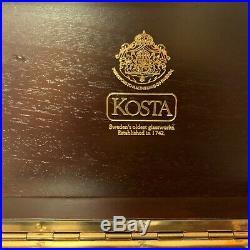 Kosta Boda Art Sculpture Glass Twist Cube Signed Goran Warff w Box 8