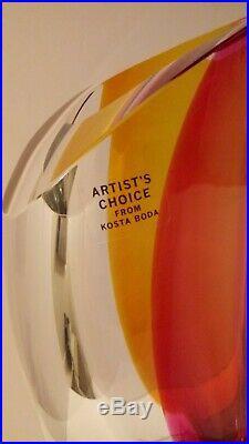 Kosta Boda Artist's Choice Aria Vase 12 Goran Warff New in Box Amber & Red Rare