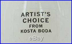 Kosta Boda, Artist`s Choice Olle Brozen Glas, Vase scandinavian art glass