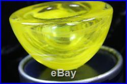 Kosta Boda Atoll Votive Candle Holder Green Yellow Vaseline Color Fine Art Glass