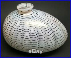 Kosta Boda BERTIL VALLIEN Signed APHRODITE BLACK & WHITE Art Glass Vase #48535