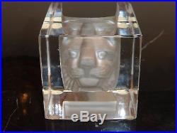 Kosta Boda Bertil Vallien #68527 Cat Viewpoints Paperweight