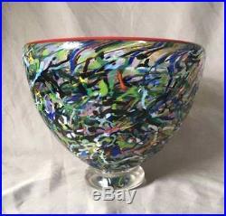 Kosta Boda Bertil Vallien Artist Collection Bowl Art Glass Sgraffito Nice