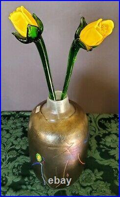 Kosta Boda Bertil Vallien Artist Collection Iridescent Tornado Art Glass Vase &