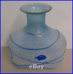 Kosta Boda Bertil Vallien Frosted White and Blue Galaxy Vase 48016