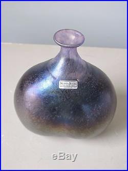 Kosta Boda Bertil Vallien Purple Art Glass Vase #48137 Signed