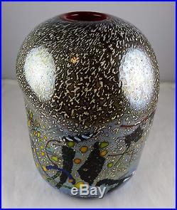 Kosta Boda Bertil Vallien Scandinavian Art Glass Vase 49531 Multicolor withRed
