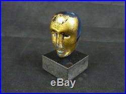 Kosta Boda Bertil Vallien Signed Blue Gold Glass Head Sculpture Atelier #009007