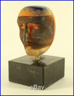 Kosta Boda Bertil Vallien Signed Blue Orang Glass Head Sculpture Atelier Signed