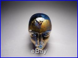 Kosta Boda Bertil Vallien Signed Brains Series Blue Gold Head Sculpture # 90003