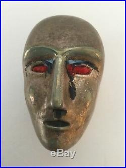 Kosta Boda Bertil Vallien Signed Brains Series Blue Gold Head Sculpture # 99863