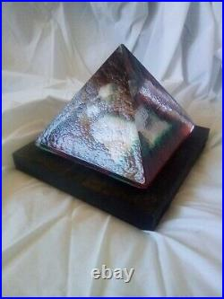 Kosta Boda Bertil Vallien head Sculpture glass. Pyramid
