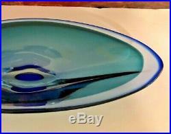 Kosta Boda Blue Studio Art Glass Zoom Bowl Center Piece Signed Goran Warff 14