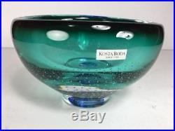 Kosta Boda By G. Warff Art Glass Bowl Controlled Bubble Signed & Numbered