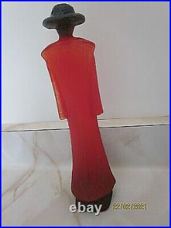 Kosta Boda Catwalk man in red trenchcoat Kjell Engman figurine 7 ½ INCHES