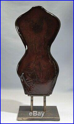 Kosta Boda Deep Purple Ground Eye & Lower Torso Glass Sculpture by Kjell Engman